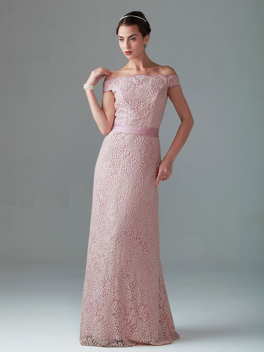 Off the shoulder Lace dress in Barely Pink at knee length for Gwenny.