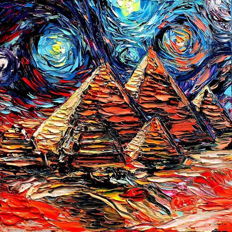 """And now we travel to Egypt...unlike van Gogh, who never did. ""van Gogh Never Saw Giza"" 12x12 inches oil on canvas. Click the link in my shop to purchase…"""