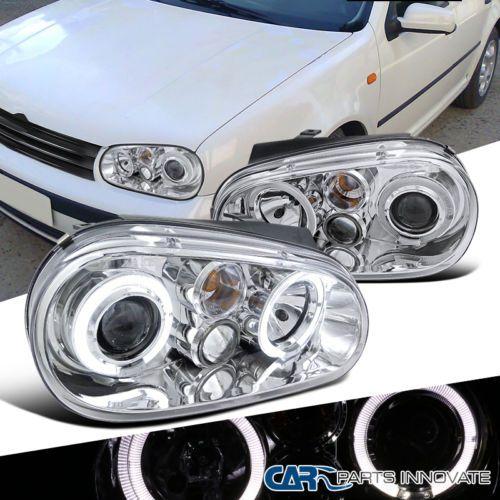 Fit Vw 99 06 Golf Mk4 Gti R32 Cabrio Halo Projector Headlights Lamp Chrome