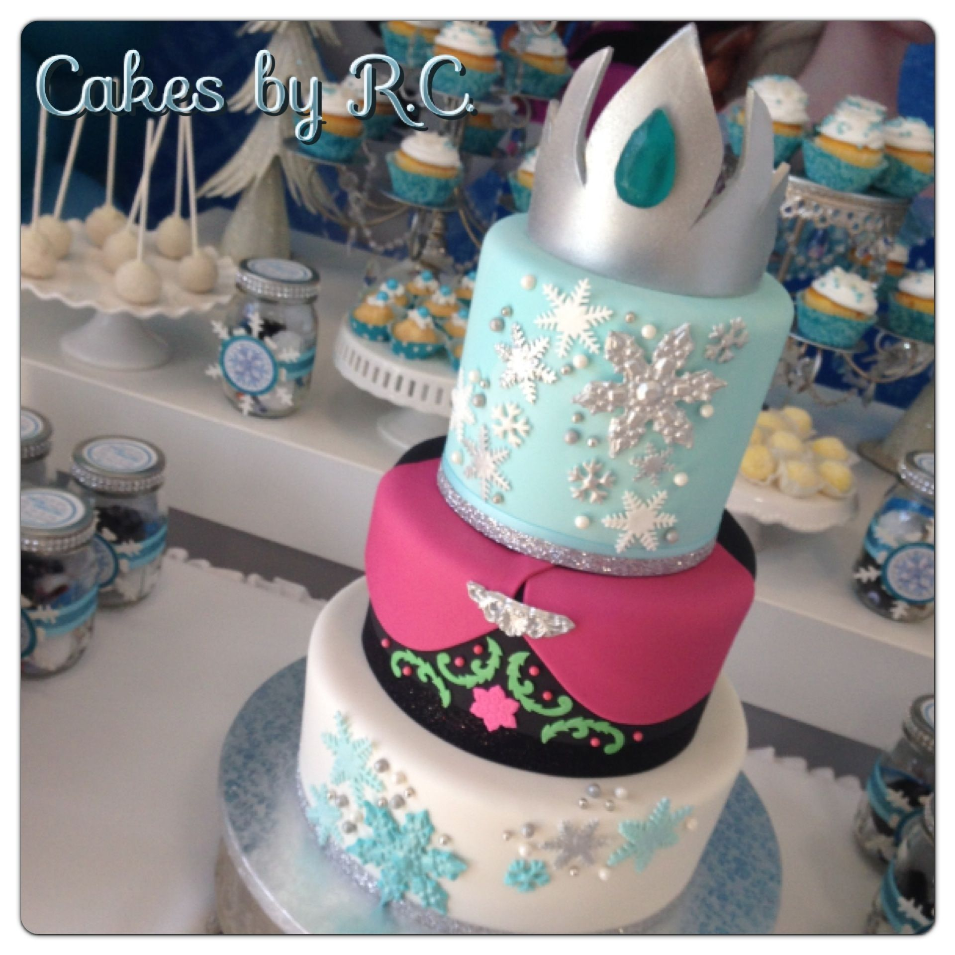 """Fronzen Inspired Cake - Frozen Inspired Cake, 3 layers of 6"""" tire, 2.5 layers of 8"""" and 2 layers of 10 """" tier. Tiara made free hand all decor is edible."""
