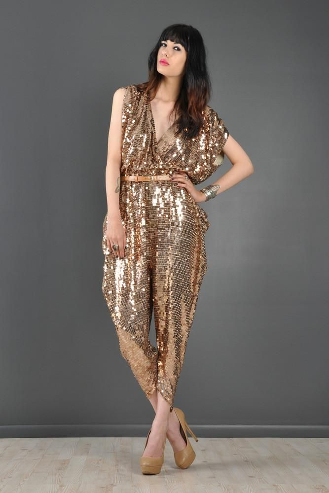 c09a8824f88 Sequin Encrusted Backless Draped Disco Jumpsuit