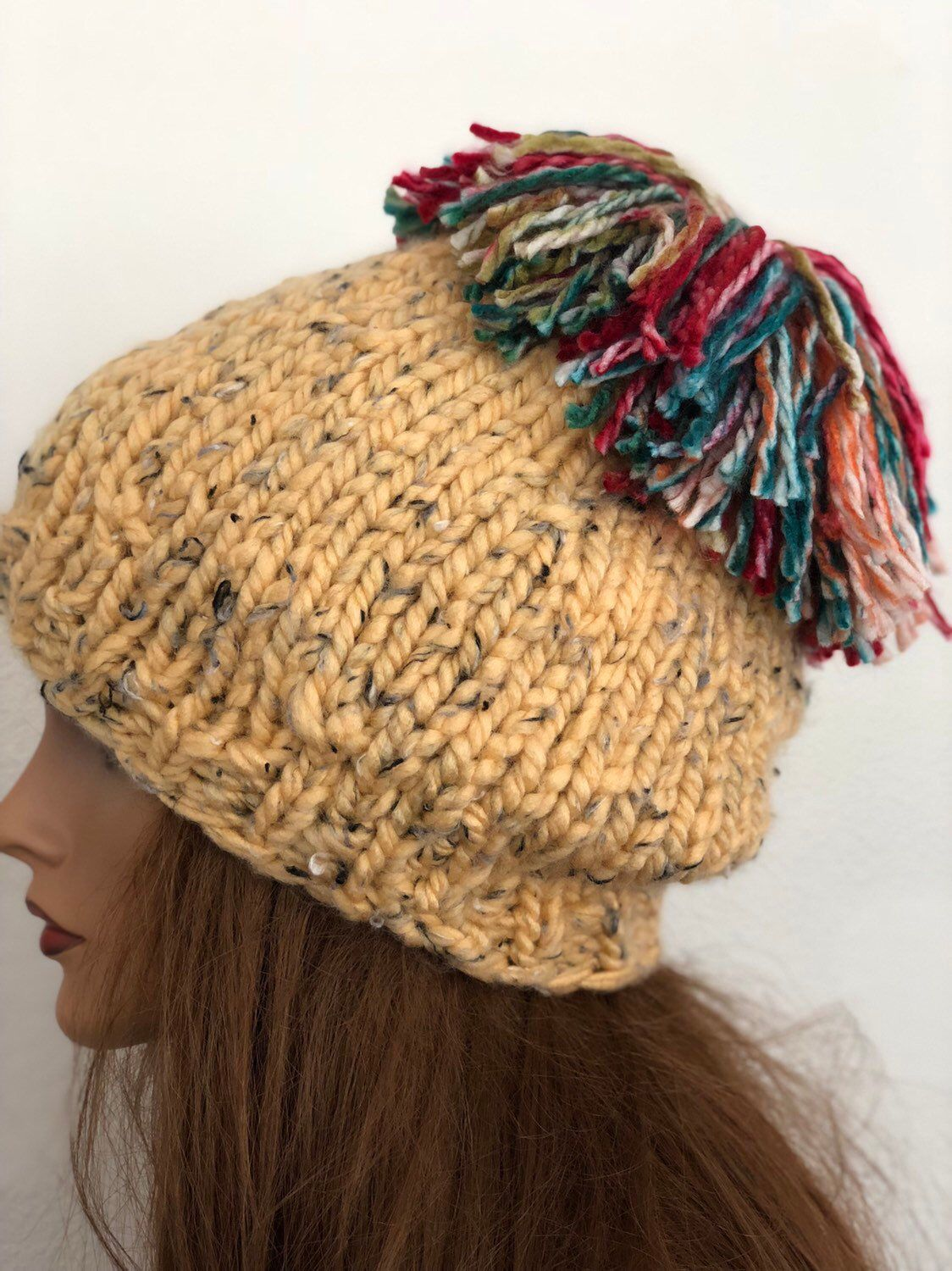 f40e24f4 Excited to share this item from my #etsy shop: Hand Knits 2 Love Hat Beanie  Cap Designer Fashion Tweed Pom Pom Hip Trendy Ski Snow Female Teen Gift ...
