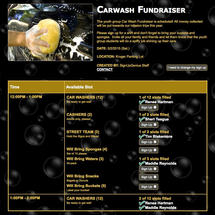 Coordinate volunteers for your team car wash fundraiser