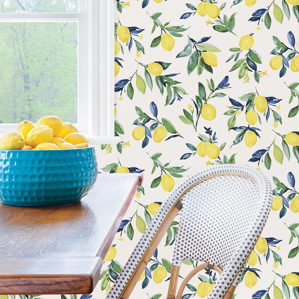 Nuwallpaper Lemon Drop Yellow Peel Stick Vinyl Strippable Wallpaper Covers 30 75 Sq Ft Nus3161 The Home Depot Peel And Stick Wallpaper Nuwallpaper Lemon Drop