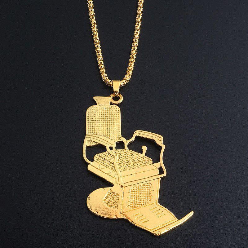 Creative barber chair pendant necklace hip hop men women