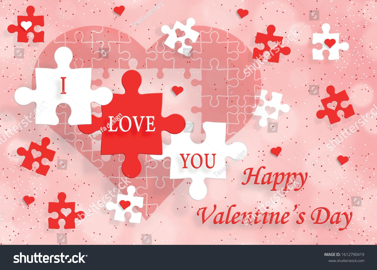 Happy Valentine S Day With Red Heart On Color Background For