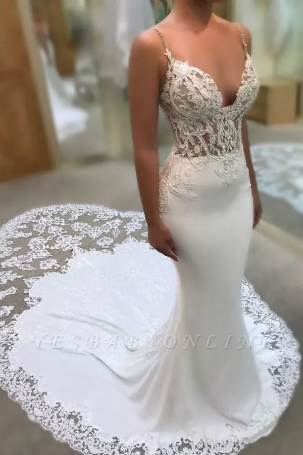 Mermaid Sweetheart Spaghetti Straps Wedding Dresses | Lace Appliques Wedding Gowns with Court Train #spitzeapplique