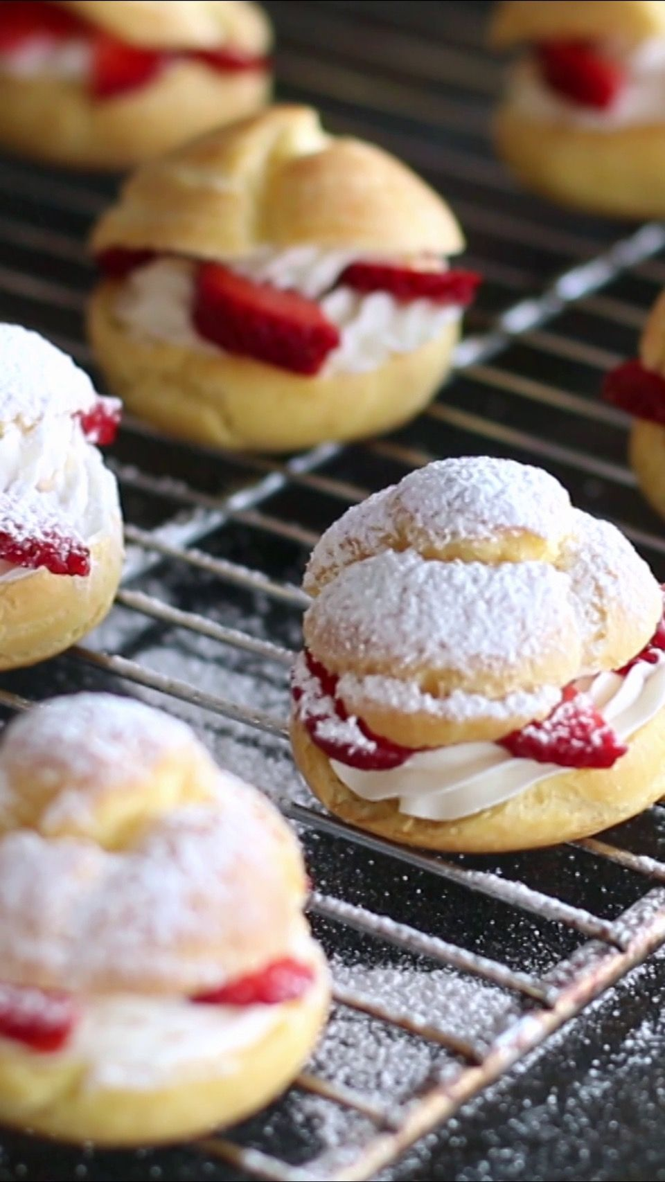 Recipe with video instructions: Strawberry and cream puffs guaranteed to please. Ingredients: 1 cup (125 g) flour, 3.5 oz (100 ml) milk, 3.5 oz (100 ml) water, 2 tsp (10 g) sugar, 1/2 tsp salt, 5 1/2 tbsp (80g) unsalted butter, 4 eggs, Filling, 2 cups (480g) heavy cream, 1⁄3 cup (40g) powdered sugar, 1 tsp (5g) vanilla extract, Fresh strawberries, cut into slices