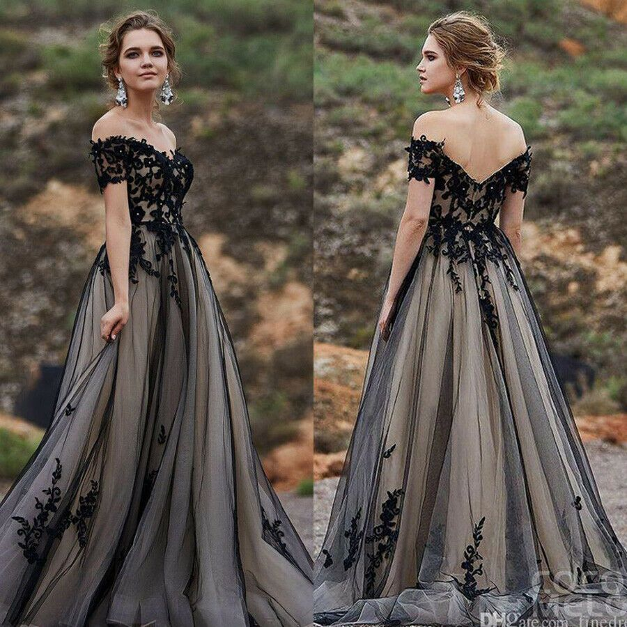 eBay Ad) Elegant Off Shoulder Prom Dresses Applique A-line Long