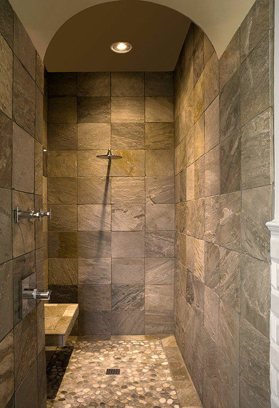 Master bathrooms with walk in showers master bathroom for Basement bathroom tile ideas