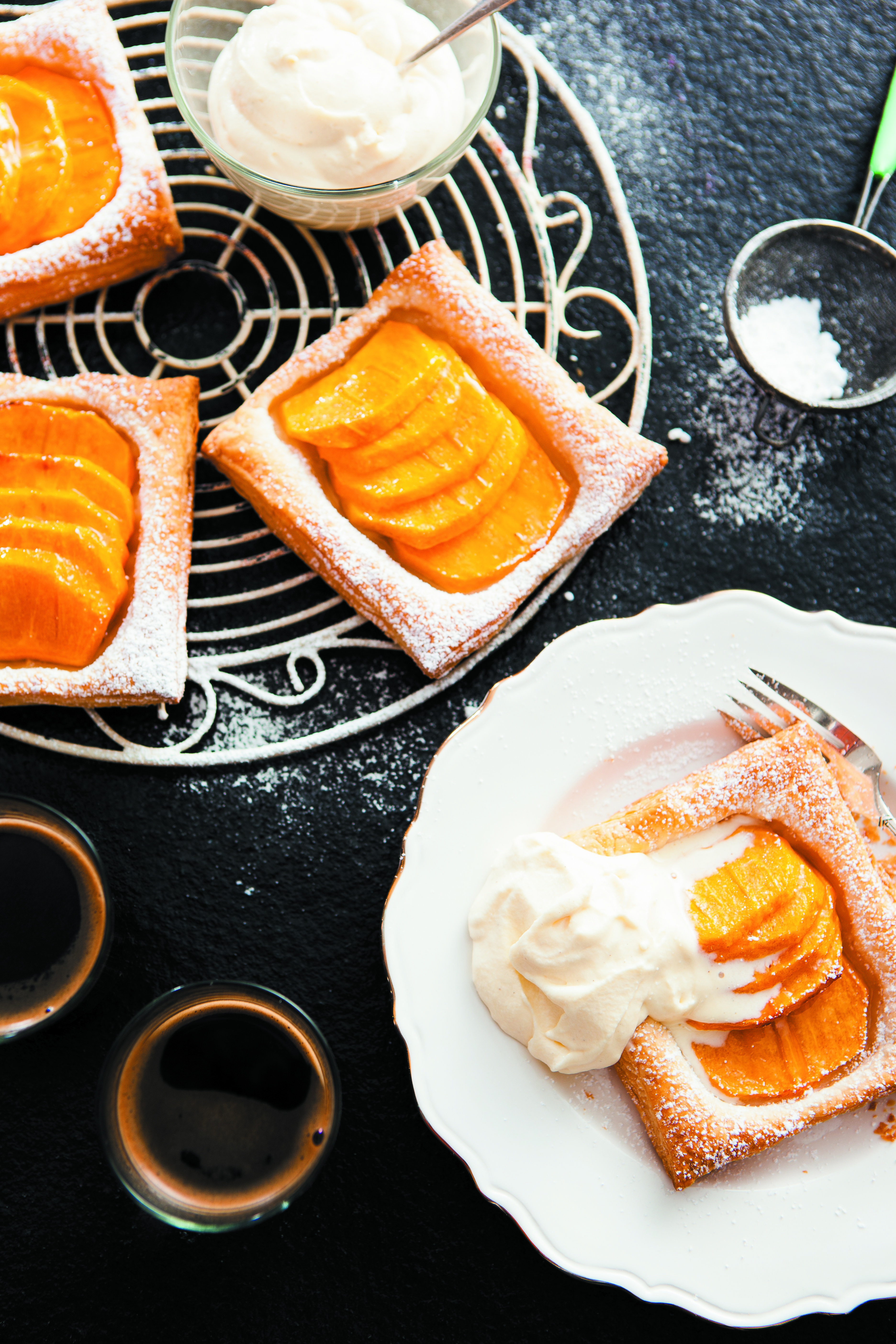 """My """"Persimmon Tart"""" recipe with white chocolate ice-cream."""
