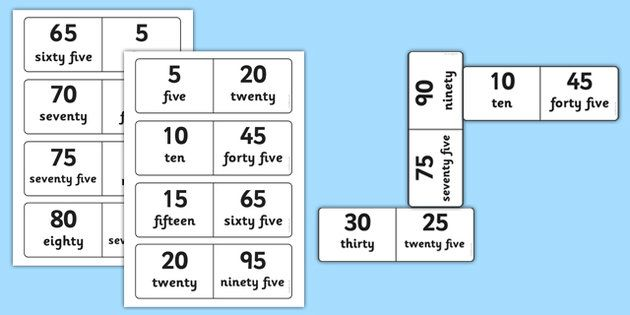 Number Bonds To 100 Dominoes Multiples Of 5 Maths Numeracy Game