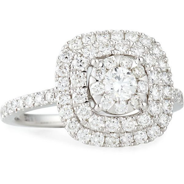 630752048 Engagement Rings · Memoire Bouquet 18k White Gold Square Diamond Ring  ($4,525) ❤ liked on Polyvore featuring