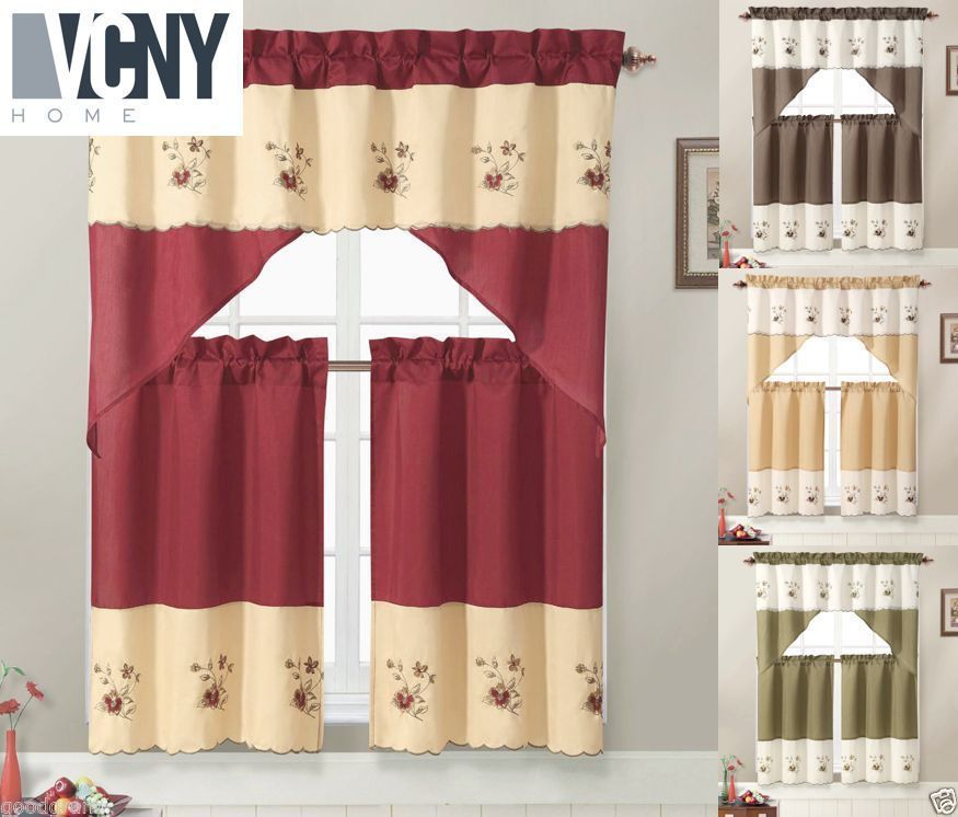 Details About Vcny Home Nancy Embroidered Kitchen Curtain Set