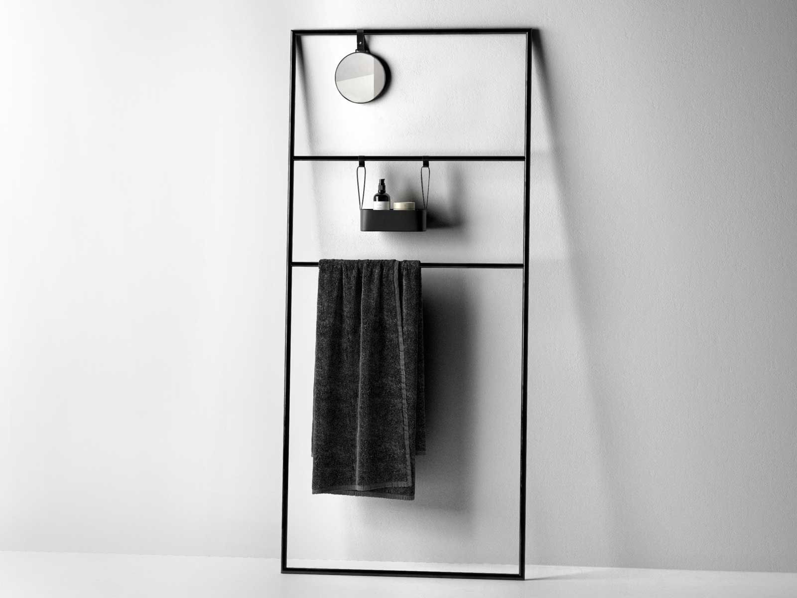 coco towel rail rack with mirror and bath accessories