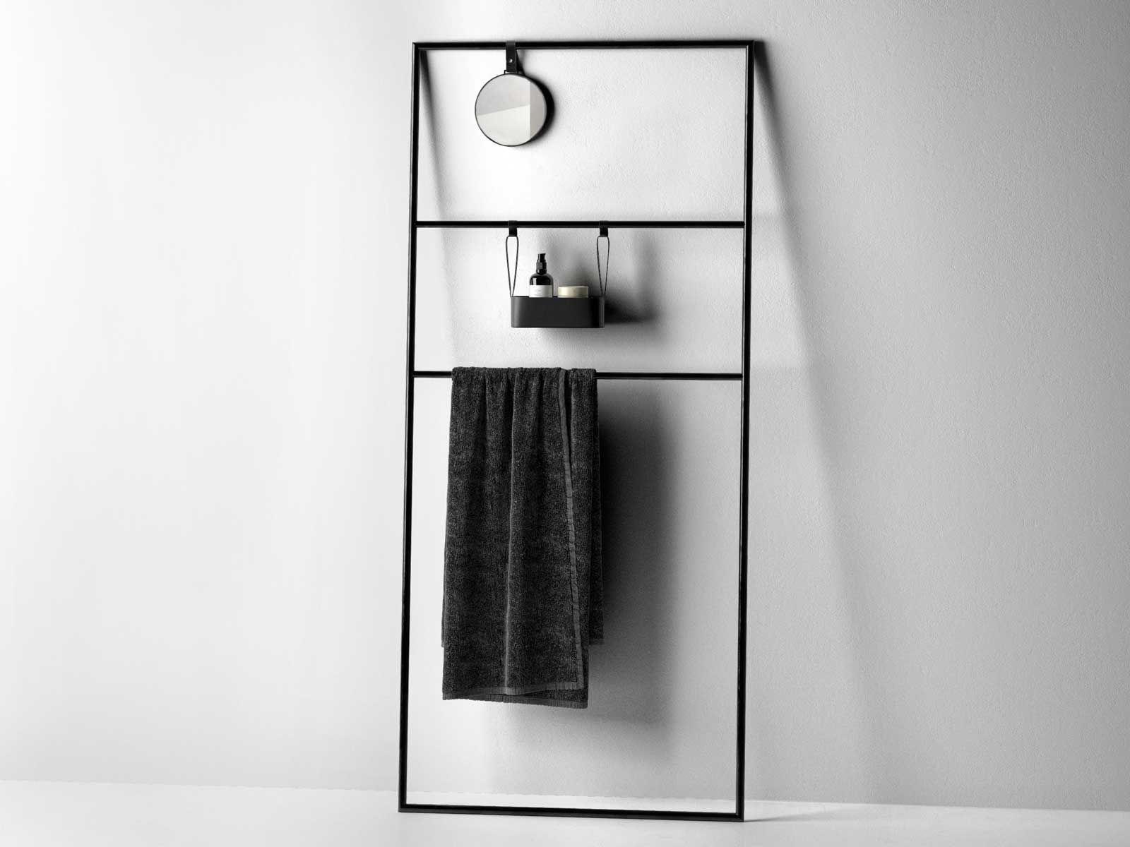 Coco Towel Rail Rack with Mirror and Bath Accessories | Bathroom ...