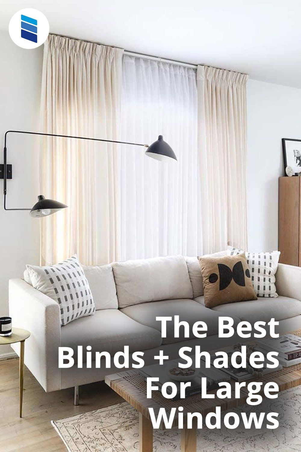 The Best Window Treatments For Large Windows Blinds Com In 2021 Curtains Living Room Modern Living Room Decor Curtains Window Treatments Living Room