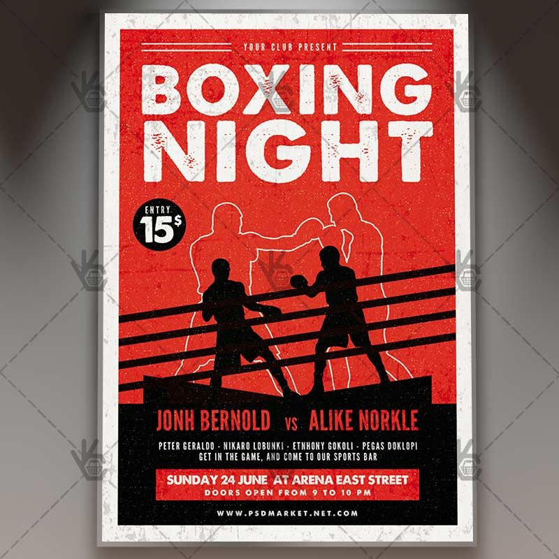 Box Flyer Boxing Night Premium Psd Template Templates And