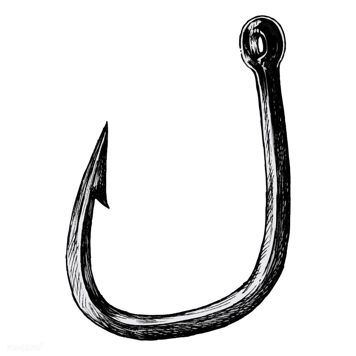 Download Premium Vector Of Hand Drawn Fish Hook Isolated 407054 Drawn Fish Fish Hook Fishing Hook Tattoo