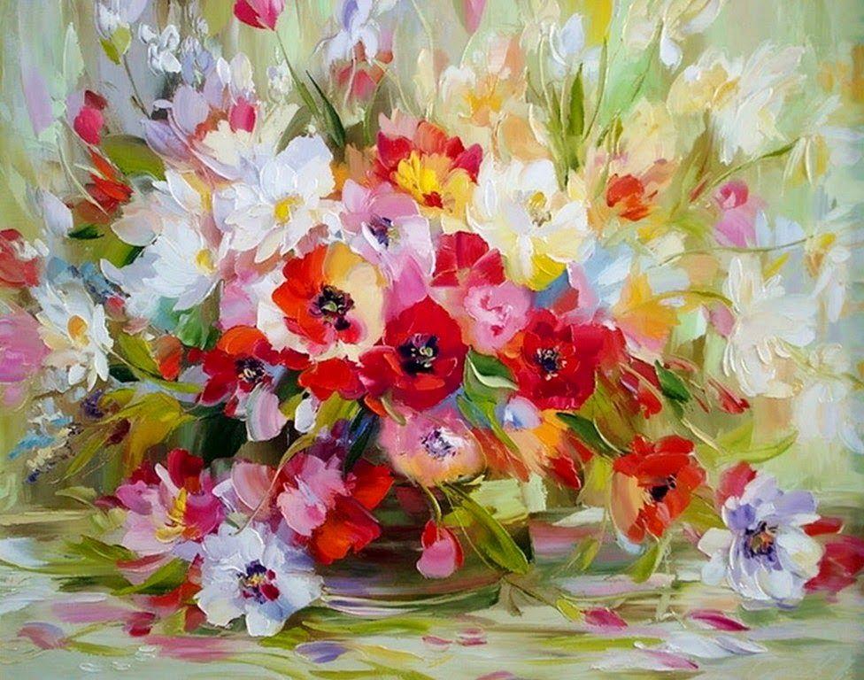 Imágenes Arte Decorativo Alexander Sergeev Pintura Con Espátula Arte Pintura Pintura De Flores