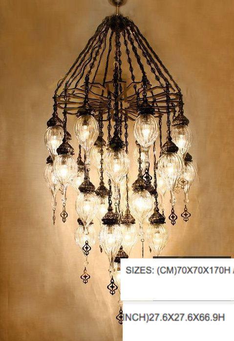 25 Ball Stunning Ottoman Style Turkish Handmade Blown Glass Chandelier 5  Globe Hanging Lamp Lighting Modern