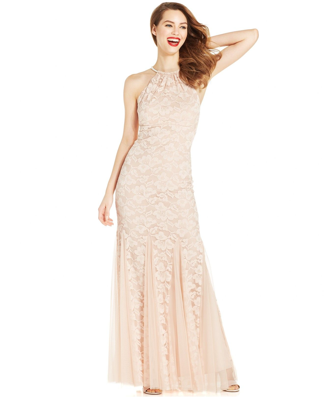 Xscape godetpleat lace halter gown dresses women macyus say