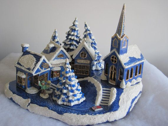 vintage blue and white hand made ceramic christmas village with lights ceramic houses clay houses