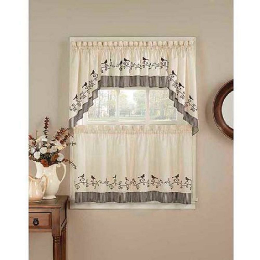 Chf u you birds kitchen curtains set of