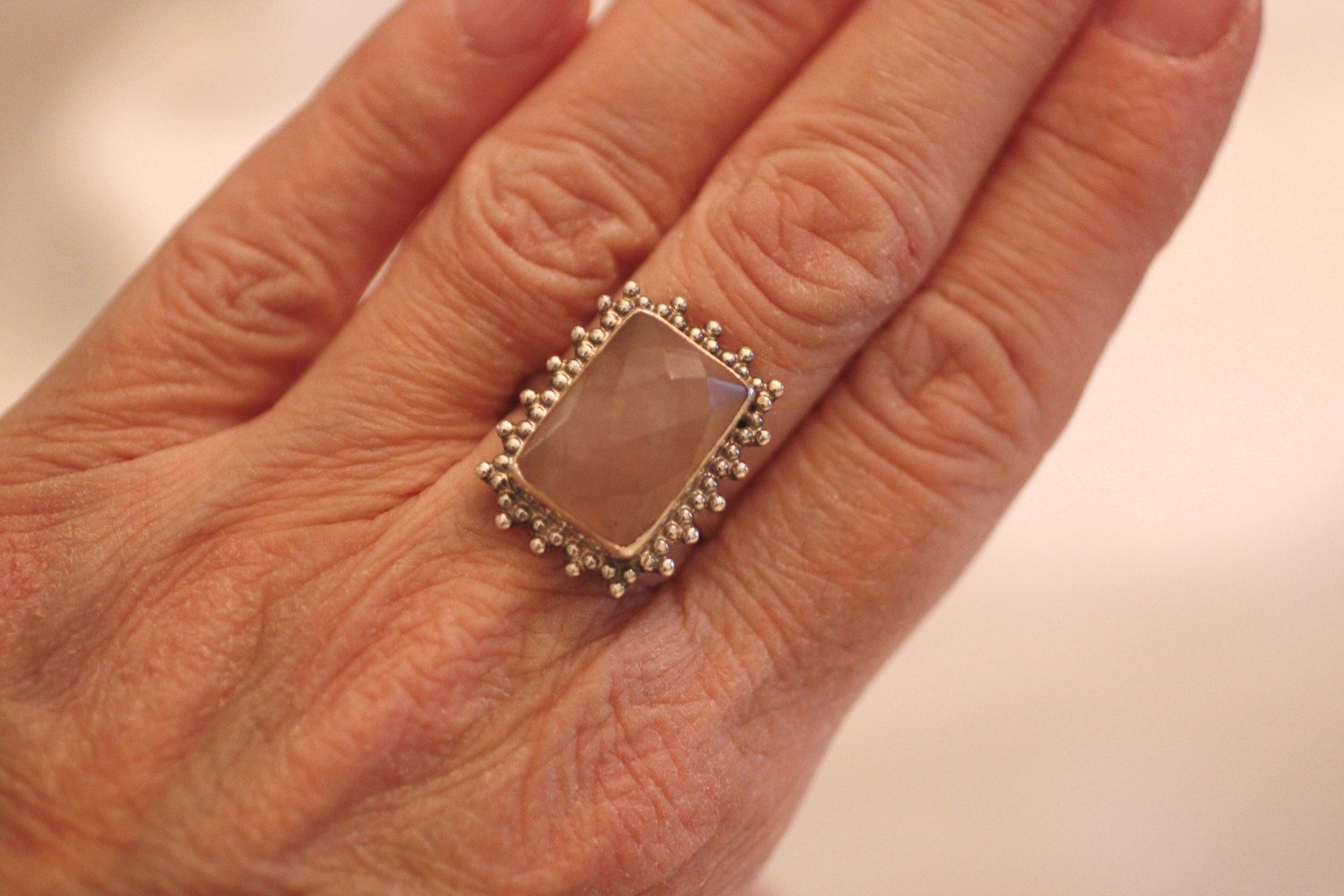 Rose Quartz Statement Ring 925 Marked Large Rectangular Faceted Rose Quartz Pink Elegant Silver Beaded Setting Vintage Boho Chic Size 6 3/4 – Everyday Chic Work & Play Outfits