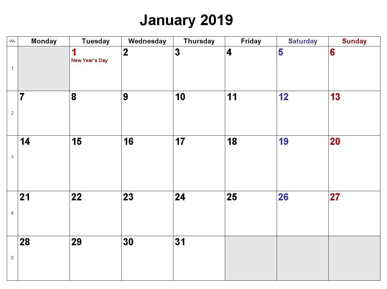 2019 Calendar Doc January 2019 Calendar Word Doc | Template of January 2019 Blank