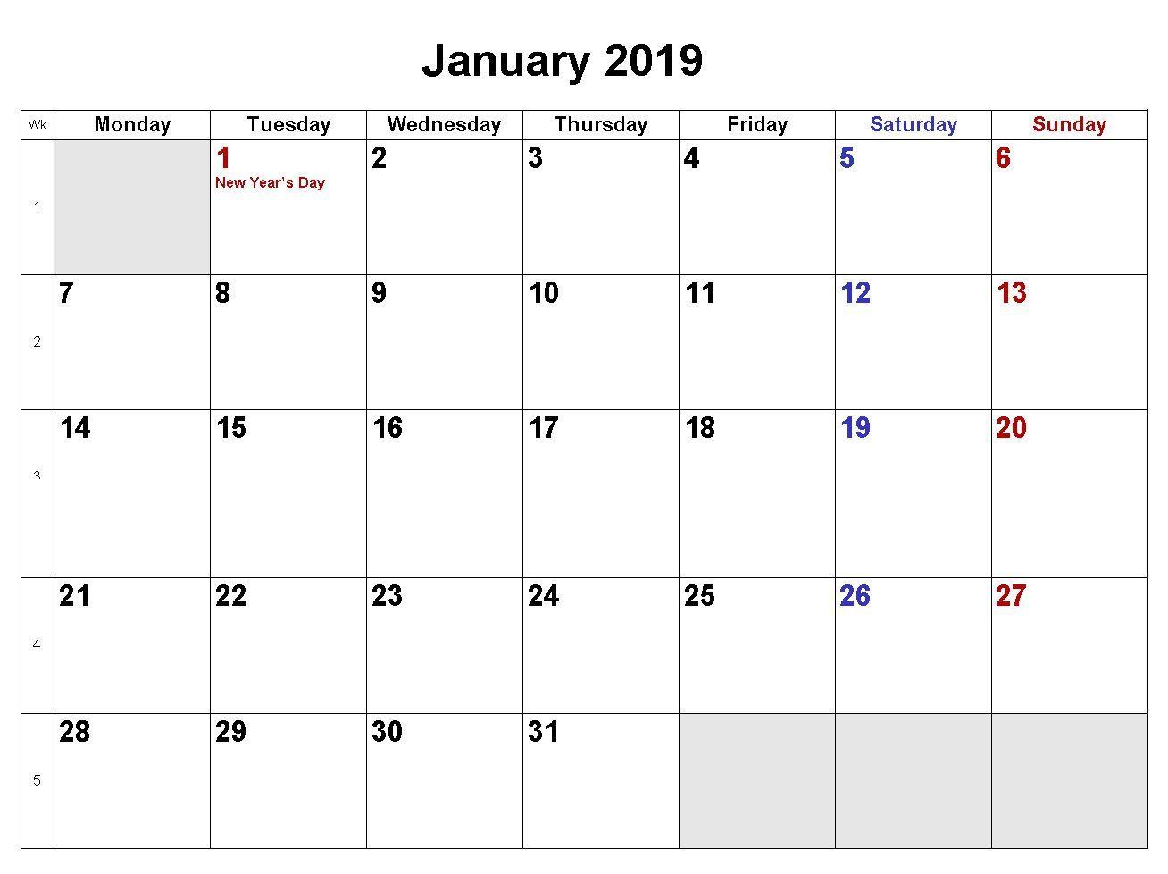 January Calendar Word Doc