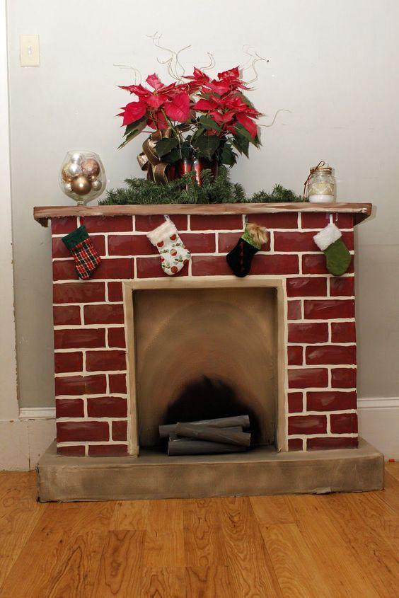 Ideas De Adornos Baratos Para La Navidad Como Hacer Chimeneas Navidenas Chimenea De Carton Decoracion De Chimeneas Navidenas