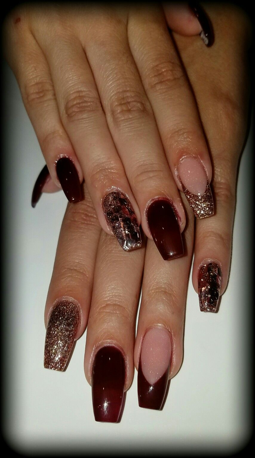 Flirtatious Nails In 2019: Burgundy And Rose Gold Coffin Nails