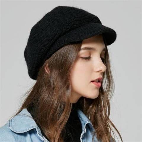 Black baker boy hat knitted newsboy cap for women winter wear ... 1f59a85cbd7