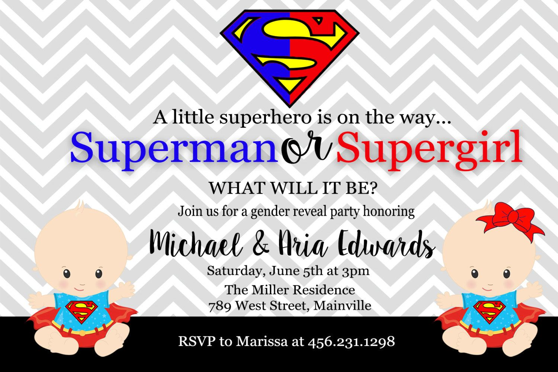 Superman Supergirl, Superhero, Baby Shower, Gender Reveal ...