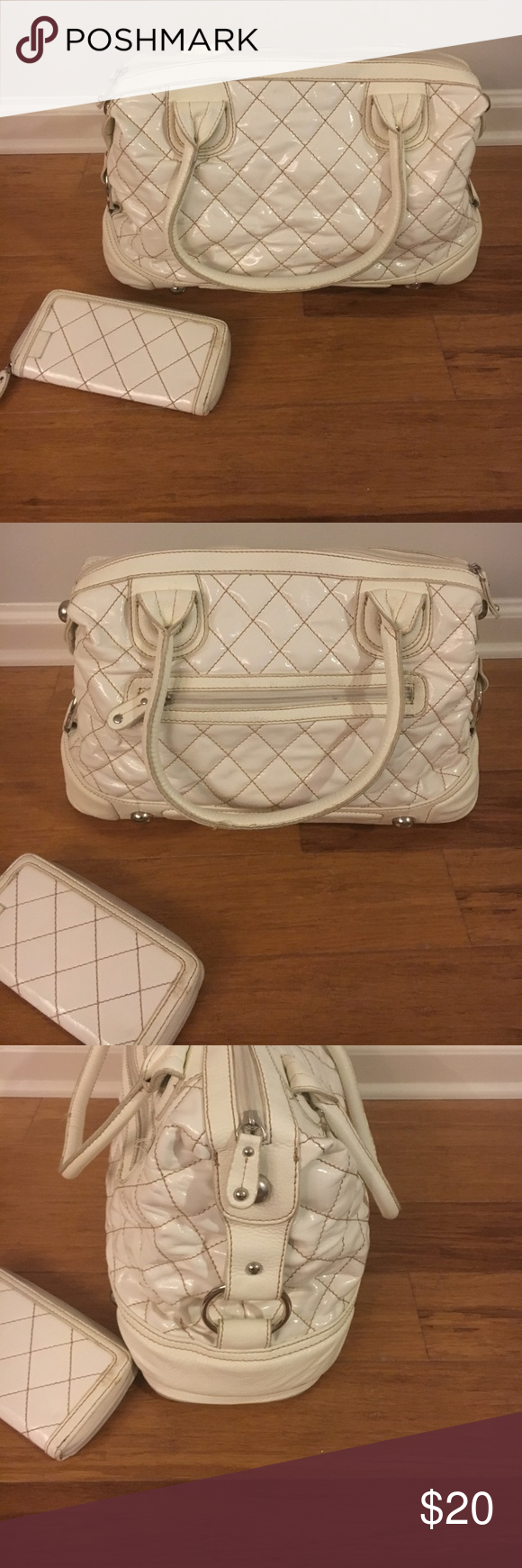 Aldo Satchel Quilted bag with matching wallet! Cute floral interior. Minimal wear Aldo Bags Satchels