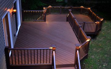 Deck With Rail Lighting Azek And System But Cables Instead Kim S In The House Pinterest Traditional Porch Decking