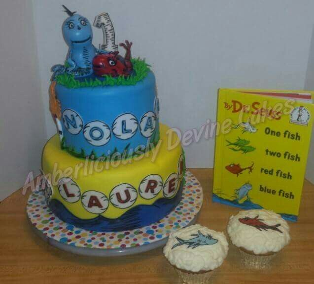 Dr Suess One fish two fish red fish blue fish cake cupcakes for