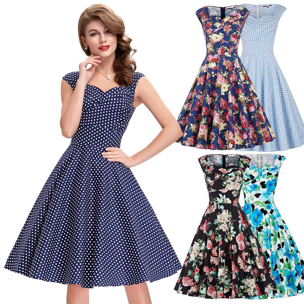 Vintage Women Polka Dots Retro Housewife Party Cocktail Evening Dress ❤ 0b33af77af17