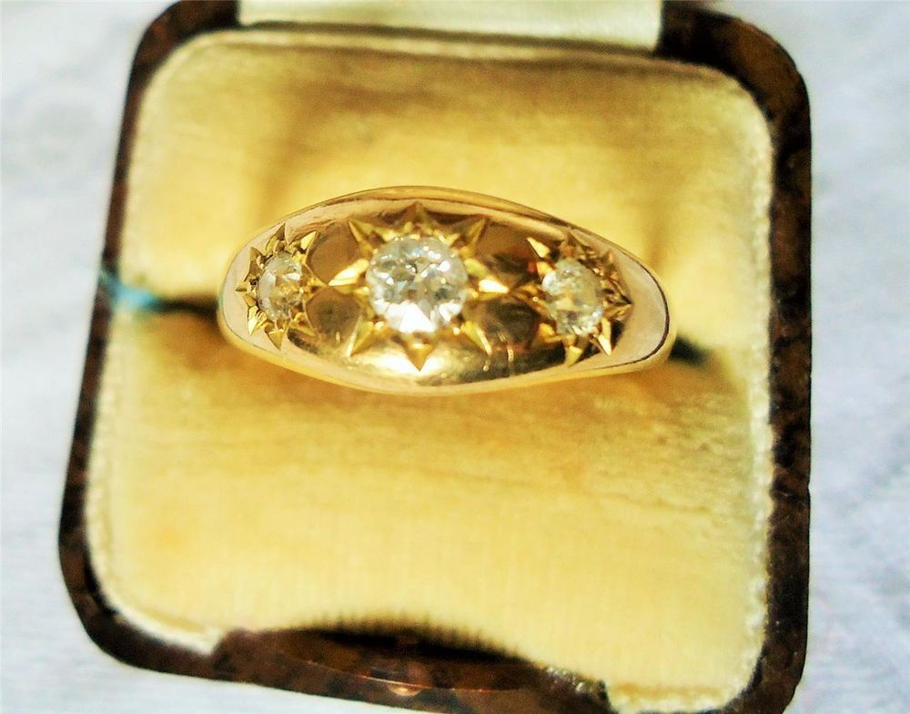 GENTS VINTAGE 18CT GOLD 3 REAL DIAMOND GYPSY RING HALLMARKS UK