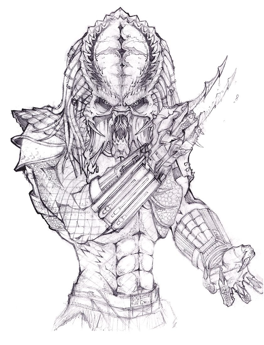Coloring pages alien vs predator drawings