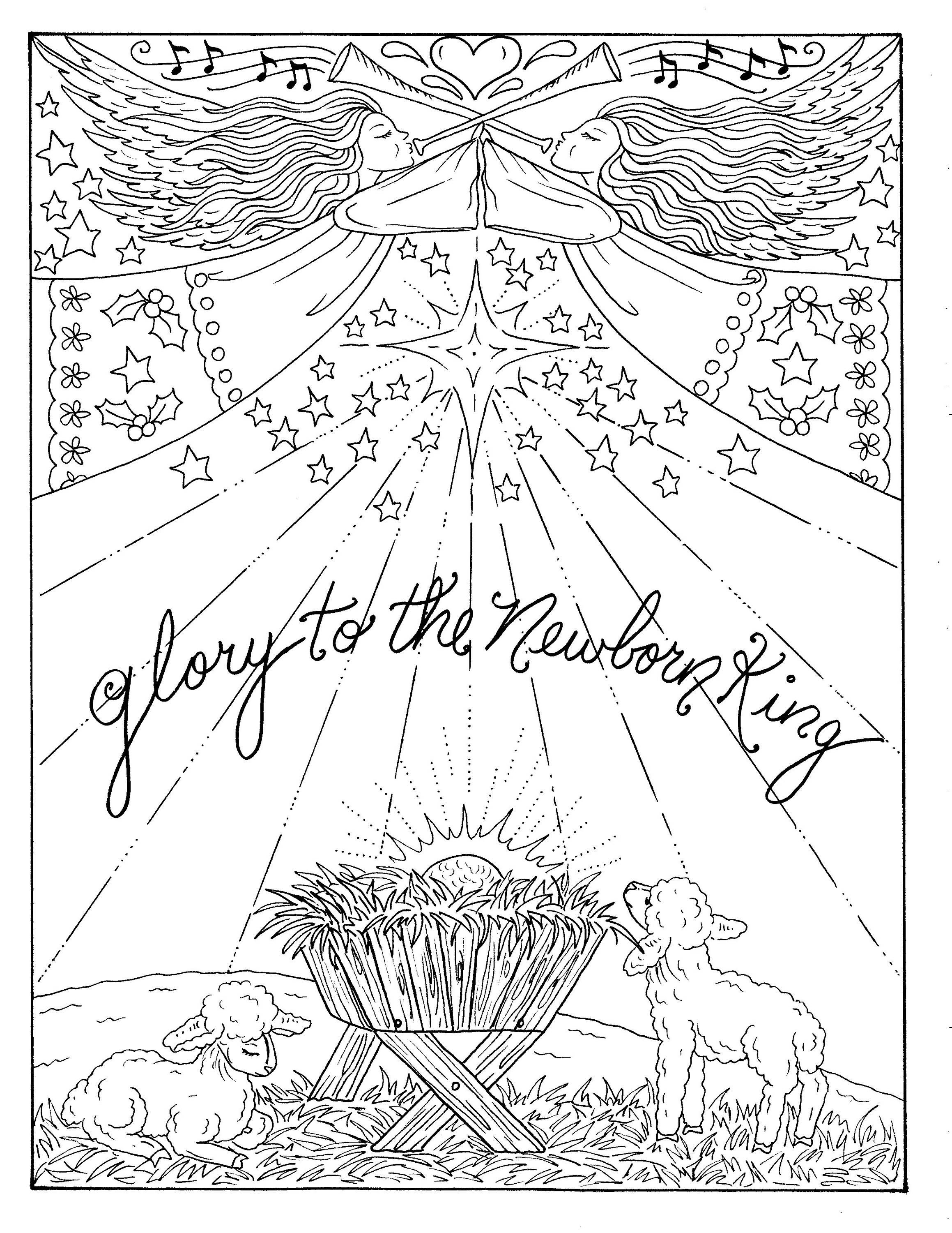 - Digital Coloring Book Born Is The King Christian Art Holiday
