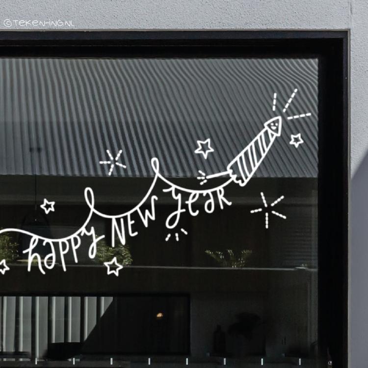 Happy new year vuurwerk raamtekening