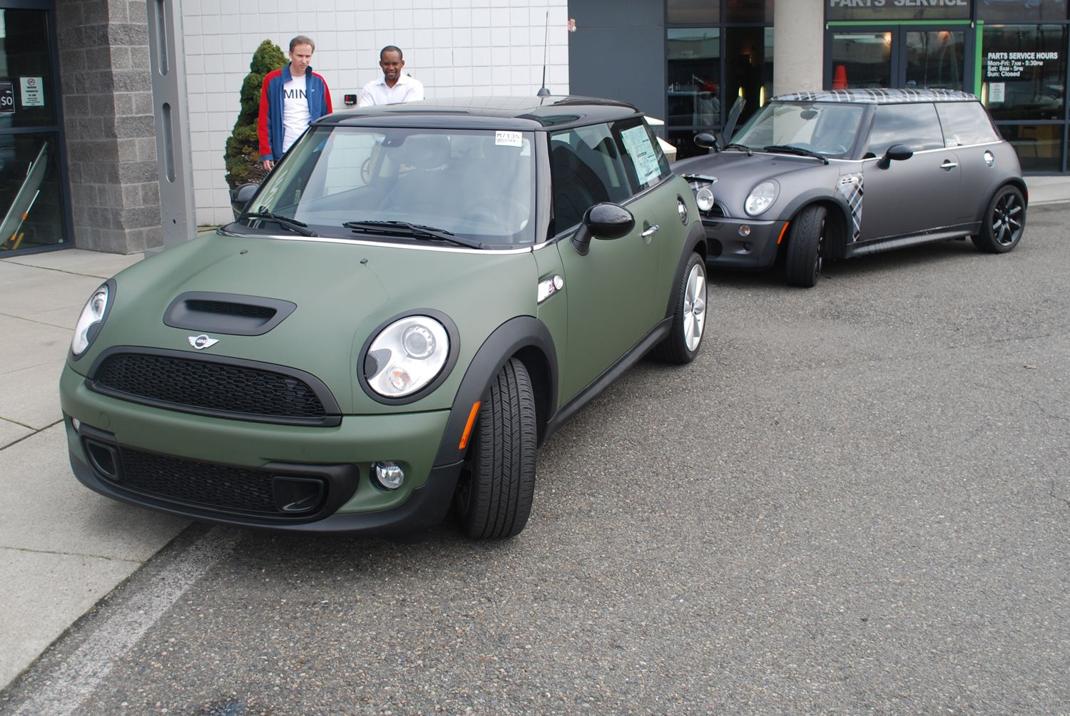 Matte Army Green Vehicle Wrap On A Mini Cooper S For Northwest Mini