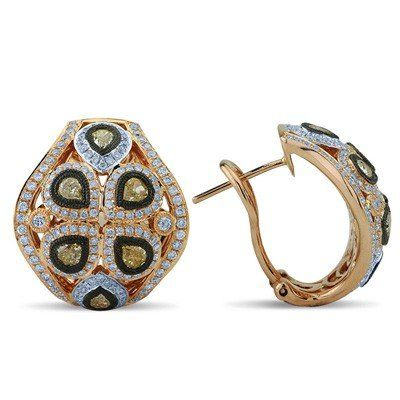 White and Pear Cut Fancy Yellow Diamond Earrings In 18K Rose Gold | Your #1 Source for Jewelry and Accessories