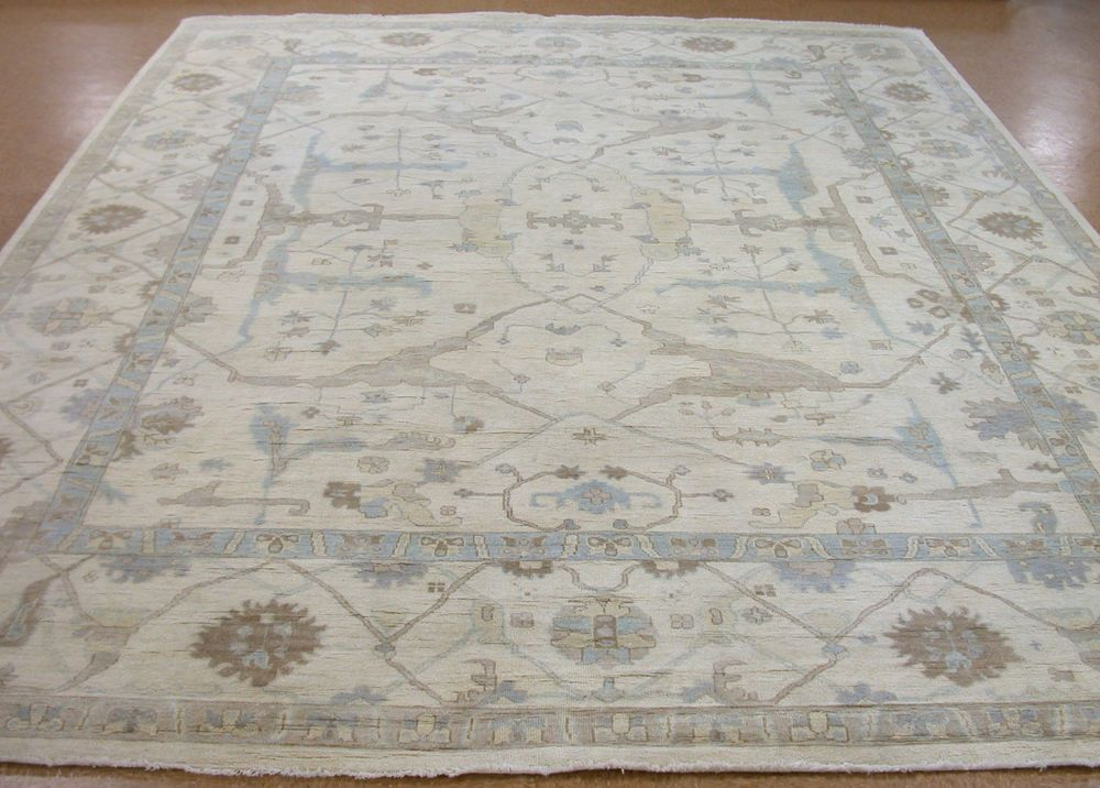12 X 15 Oushak Style Hand Knotted Soft Wool Ivory Blue New