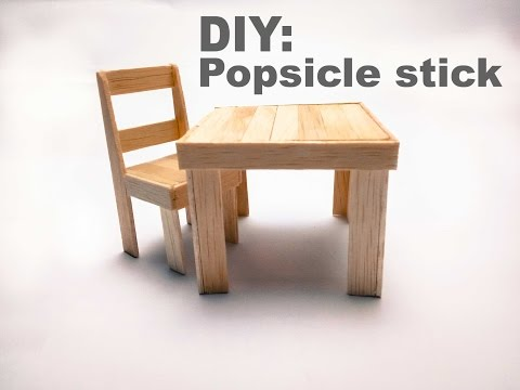 28 Diy How To Make A Popsicle Stick Chair And Table Youtube Sticks Furniture Popsicle Stick Houses Popsicle Stick Crafts House