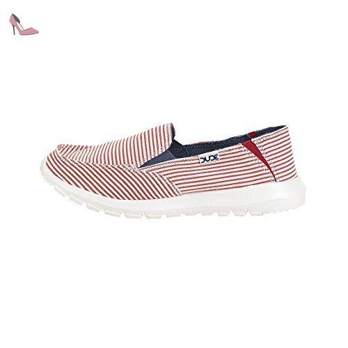 Dude Shoes Women's Capri E-Bands Stretch Red Stripe Slip On UK8 / EU41 Q3ujU