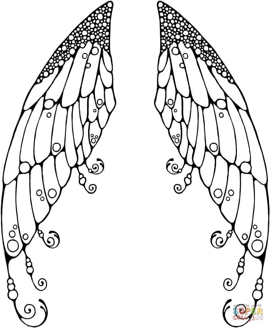 Uncategorized Angel Wings Coloring Pages double fairy wings coloring page free printable pages pages