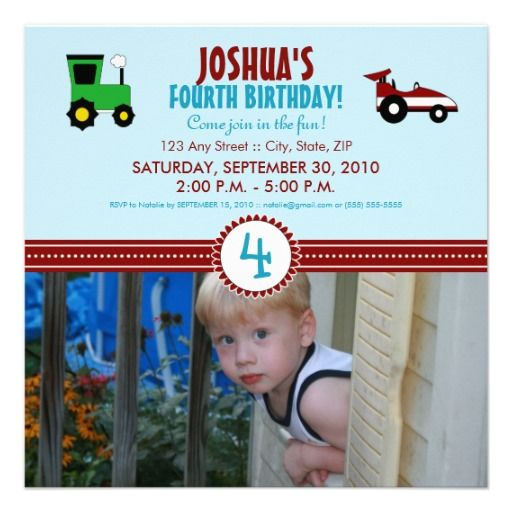 Satin Ribbon Tractor Birthday Party Invite red
